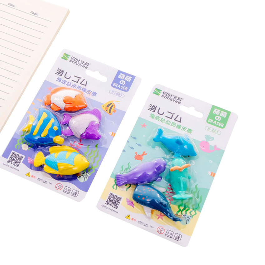 4pcs/set Eraser Whale Dolphins Marine Animal Eraser Set Cute Stationery School Office Party Supplies Gift Girl Kids Gift Random