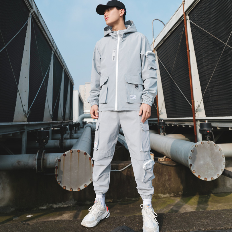 Brand Men's Fashion Suits Loose And Comfortable Casual Jacket+Cargo Pants 2PCS Track Suit Multi-pocket Fashion Gray Cargo Suit
