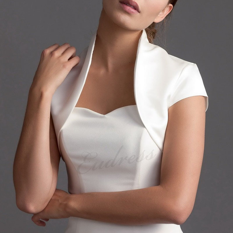 White Iovry Short Cape Sleeve Wedding Jacket Short Bolero Elegant Women Jacket Satin Bolero Jackets For Evening Dresses