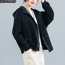 DIMANAF Plus Size Women Jackets Coats 2019 Autumn Winter Zip