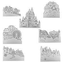 Halloween Cutting Dies Carbon Steel Embossing Etching Cutter Model Castle Scrapbook Handmade Diy Knife Model Valentine's Day(China)
