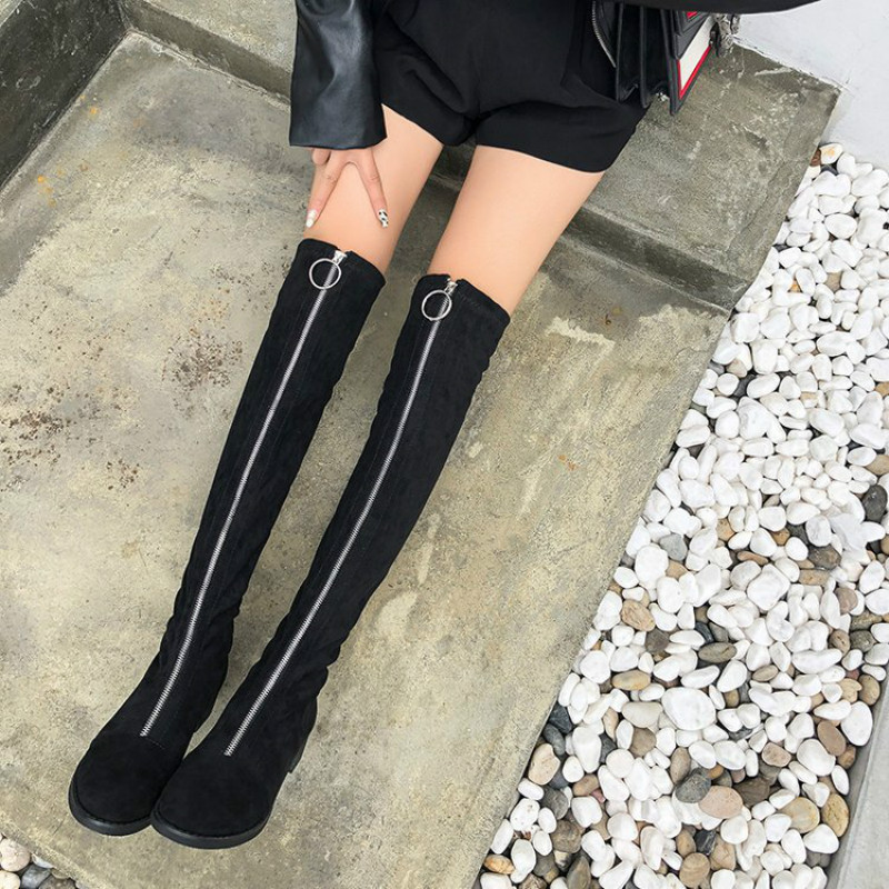 Over the knee boots female 2019 winter stretch thin flat bottom women tight boot with front zipper plus velvet women's shoes