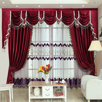 American Curtains for Living Dining Room Bedroom Stage Curtain Italian Velvet Hotel Windows Pelmet Flannel Curtain Tulle Curtain