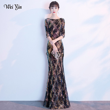 wei yin AE0372 Elegant Long Evening Dresses Saudi Arabia Mermaid Sequined O Neck Mermaid Long Dress 2020 Party Gowns