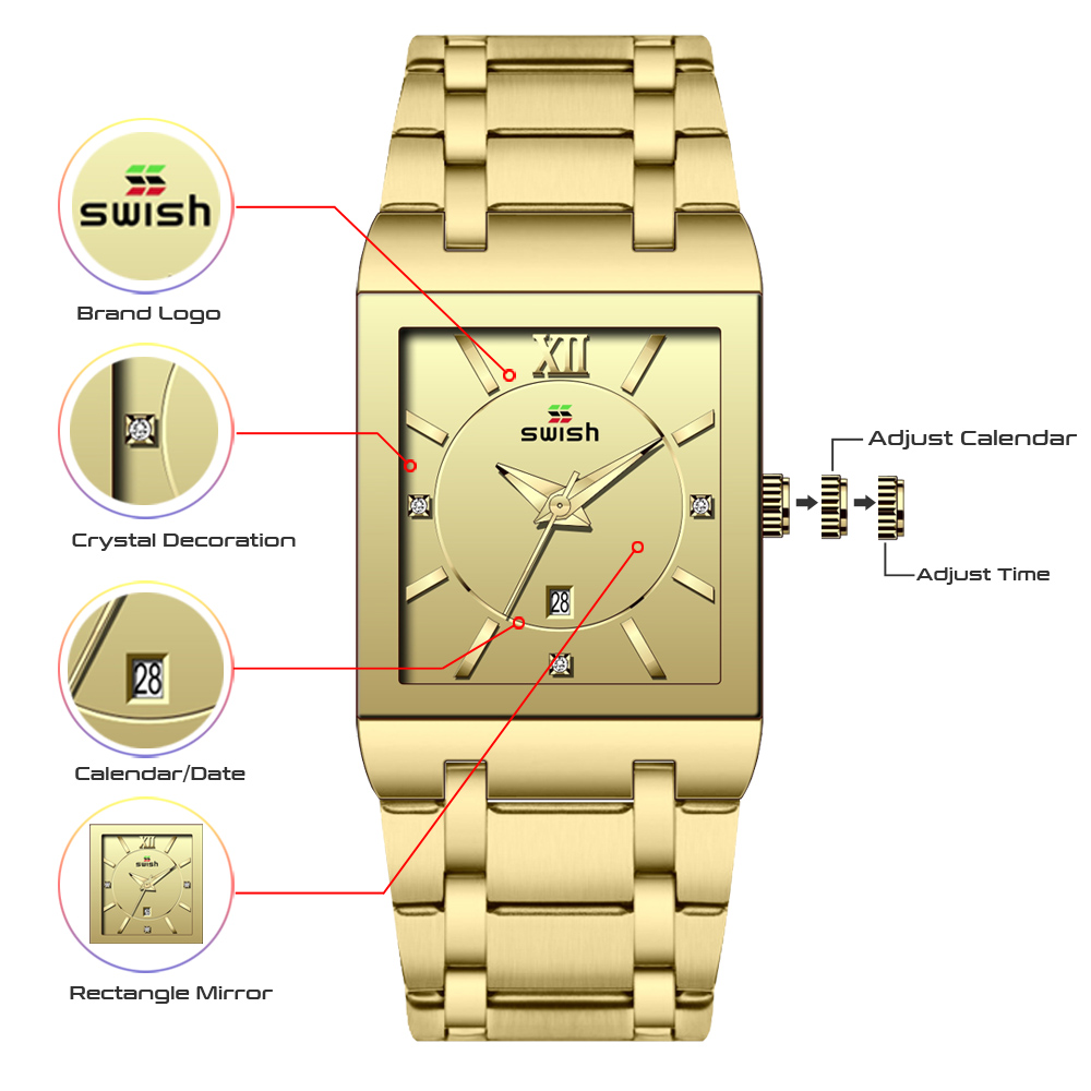 Bracelet Watches Square Top-Brand Women Fashion Golden Ladies Luxury Luxo Female Relogio