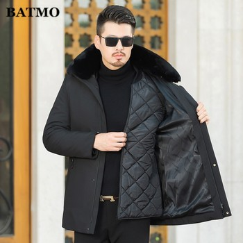 BATMO 2019 winter new arrival Men's fashion big fur collar wadded jacket,Classic detachable liner keep warm coat parkas men.