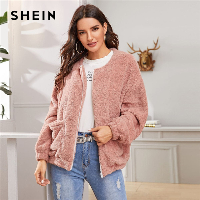 SHEIN Pink Solid Zipper Front Casual Teddy Jacket Coat Women 2019 Winter Streetwear Long Sleeve Double Pocket Ladies Outwear