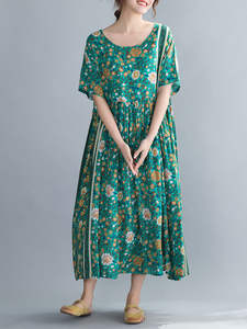 DIMANAF Dress Summer Holiday-Print Floral Loose Oversize Women Beach-Style Plus-Size