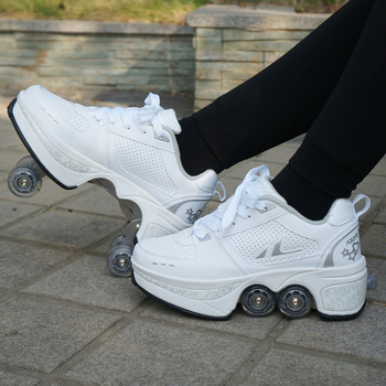 Deformation Parkour Shoes Four wheels Rounds of Running Shoes Roller Skates shoes adults kids unisex 4