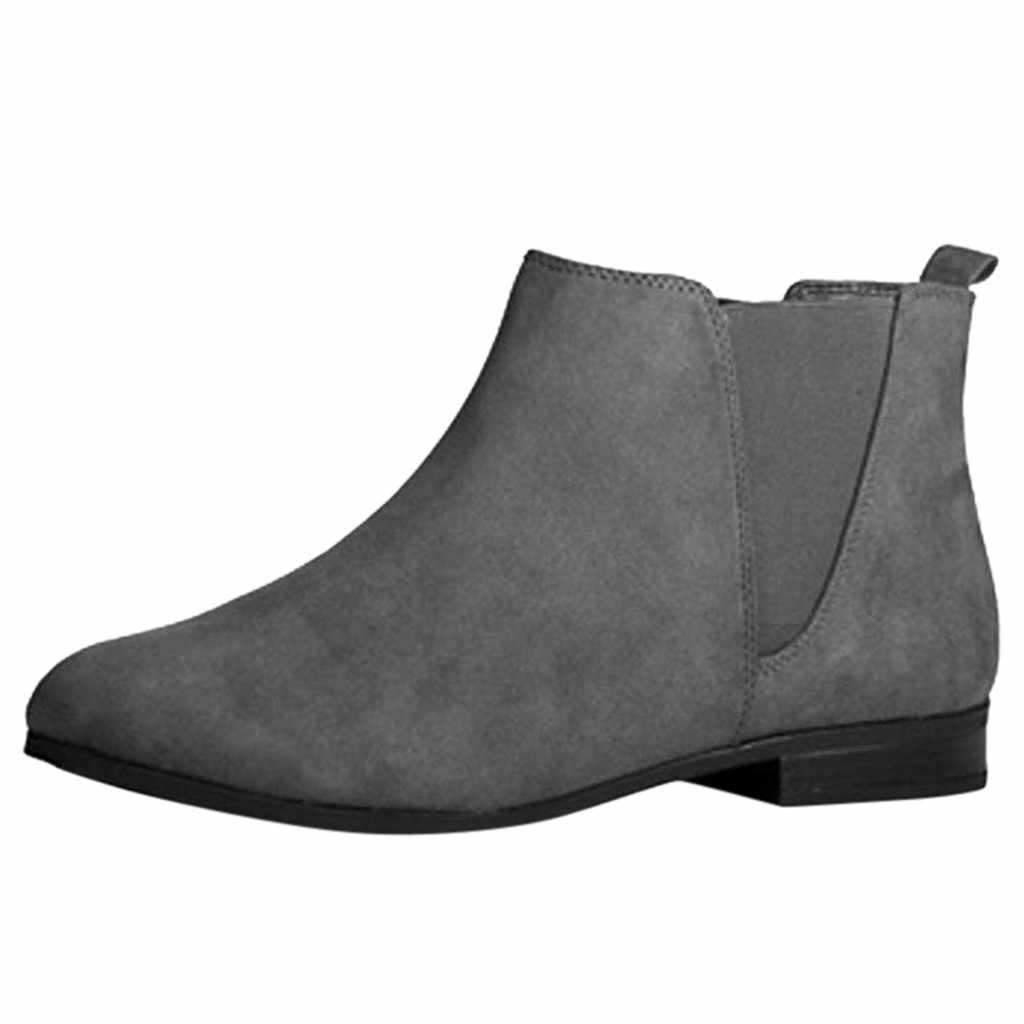 Bayan yarım çizmeler Elastik Tab Düşük Blok Düz Topuk Sonbahar Klasik Tasarım Kare topuk Chelsea Çizmeler Yuvarlak Ayak iş ayakkabısı