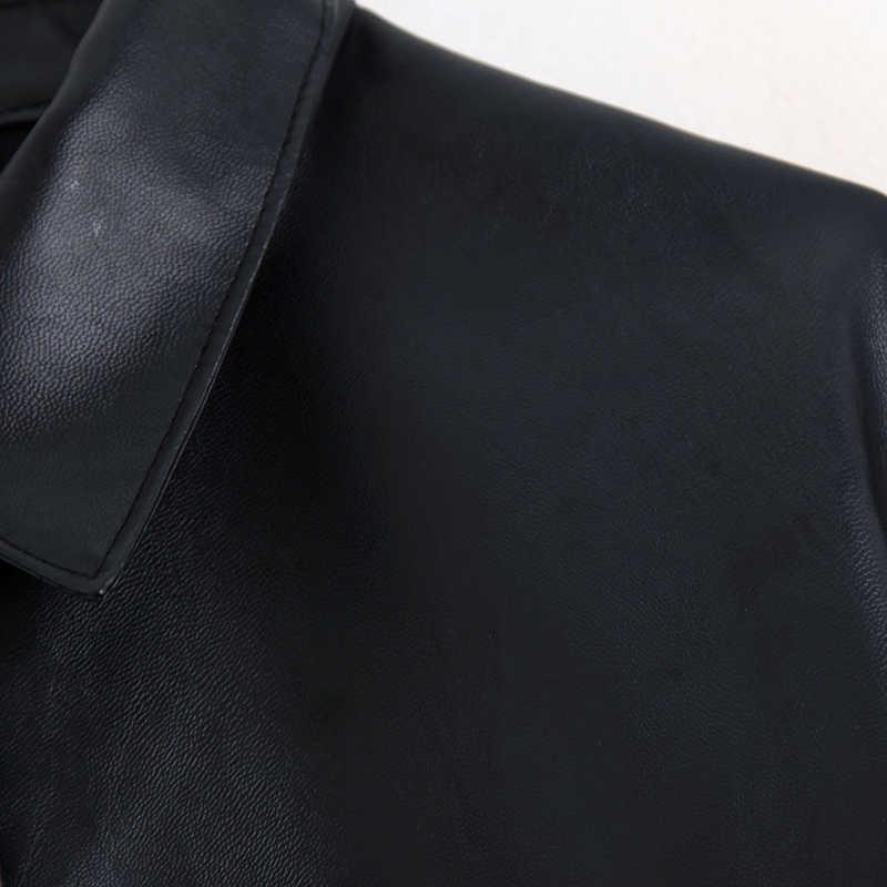 Harada PU 가죽 블라우스 여성 패션 높은 모조 가죽 셔츠 여성 우아한 주머니 탑 여성 숙녀 JC