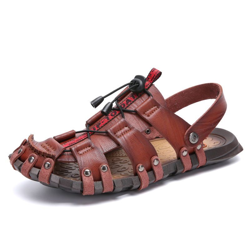 High Quality Mens Sandals Leather Men Shoes Leather Casual Lightweight Non-slip Beach Sandals Rubber Comfortable Big Size 38-48