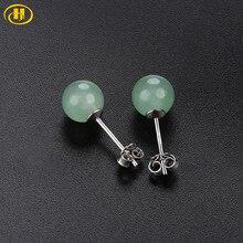 Hutang-pendientes de plata de primera ley y gemas para mujer, aretes pequeños, plata esterlina 925, Jade VERDE, 6mm