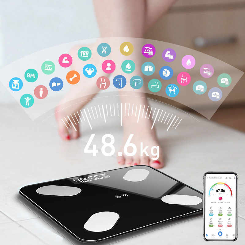 180KG Body Fat Scale Monitor Bathroom Smart Bluetooth Glass Scales BMI Weighing