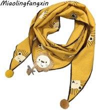 Полотенце для девочек, шарф с цветочным принтом, хлопковые шали, весенний Детский шарф с воротником, осенне-зимний детский треугольный шарф