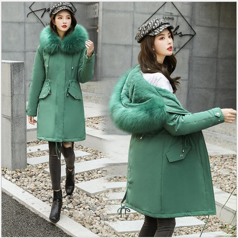 Large Fur collar Winter Jacket Women Hooded 2019 Long   Parkas   Female Thick Slim Winter Coat Women Cashmere liner 379