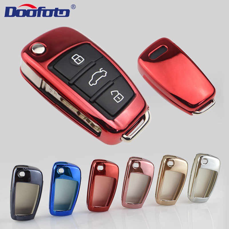 Doofoto Car Key Sticker Cover For Audi Q3 A4L A6L C6 A7 A8 A1 A3 A4 A5 Q5 A6 Car Folding Key Sets Accessories Protective Shell
