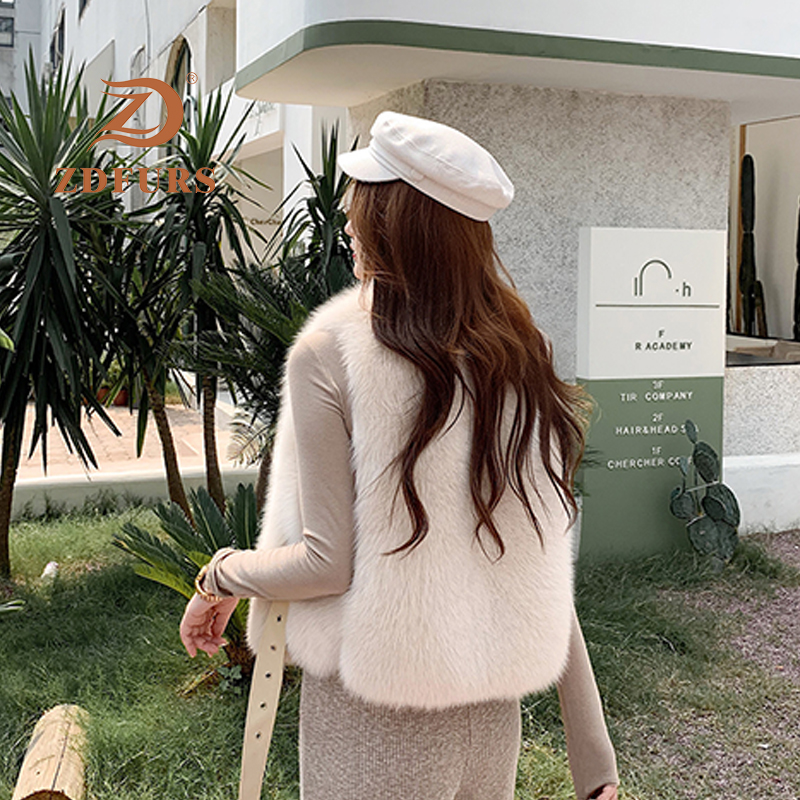 Image 5 - ZDFURS*New Arrival Natural Fur Waistcoat Plus Size Contrast Color Fashion Irregular Full Pelt Fox Fur Vest WomanReal Fur   -