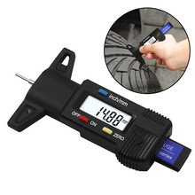 Car Tyre Digital Tread Brake Pad Shoe Gauge Depth Tester Black Metal High Precision Digital Display Tire Pressure Meter 1 2 display screen 0 15mm digital thickness gauge black precision 0 01mm 1 x ag13