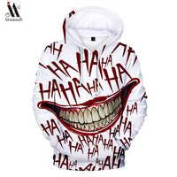 Graffiti hip-hopowe bluzy męskie jesień luźny pulower bluzy z kapturem męskie moda deskorolki bluzy off biały haha joker 3D