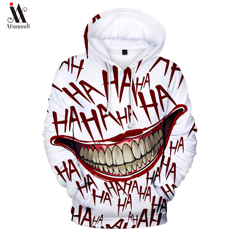 Hip Hop Graffiti Hoodies Mens Autumn Casual Pullover Sweats Hoodie Male Fashion Skateboards Sweatshirts Off White Haha Joker 3D