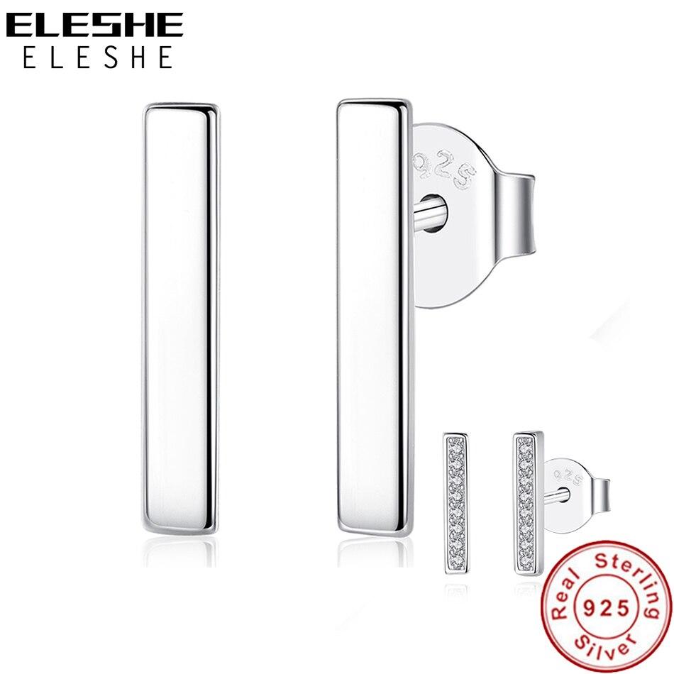 ELESHE Minimalist 925 Sterling Silver Simple Bar Earrings for Women Geometric Square Dainty T Bar Stud Earrings Silver Jewelry