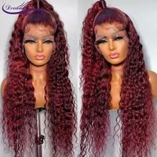 Бордовые # 99J вьющиеся человеческие волосы парики для женщин предварительно выщипанные 13x4 кружевные передние человеческие волосы парики бр...
