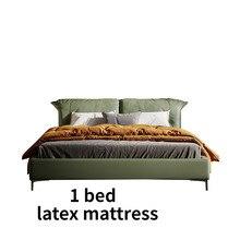 Simples e moderno cama de casal cabeça camada cowhog master bed italiano minimalista luxo couro macio
