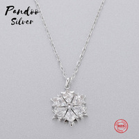 PANDOO Fashion Charm Sterling Silver Original 1:1 Copy, Modern Fashion Small Fresh Flower Necklace Women Luxury Jewelry Gifts