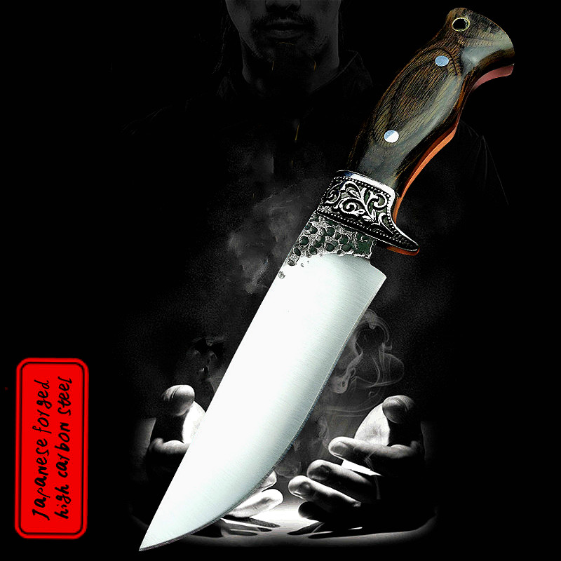 High carbon steel rivet reinforcement integrated steel tactical straight outdoor jungle hunting knife survival rescue knife