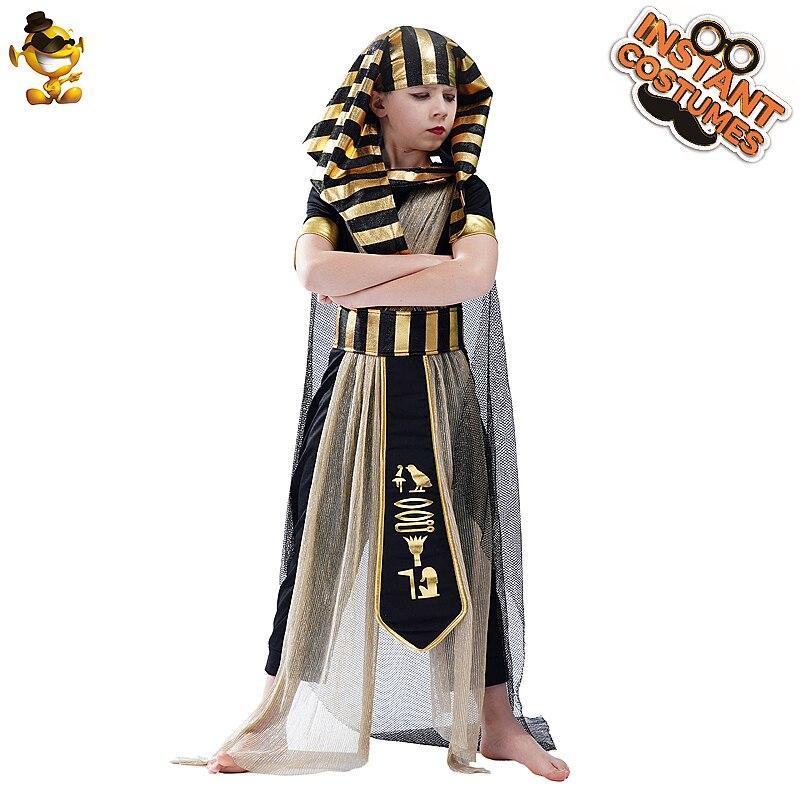 Kids Boy's Egyptian Deluxe Pharaoh Costume Cosplay Halloween Children Egypt Pharaoh Clothes Costume