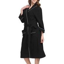 Пижама с поясом женский халат Банный домашний карманный ночная рубашка с длинным рукавом элегантное кимоно однотонная Домашняя одежда из хлопка на каждый день