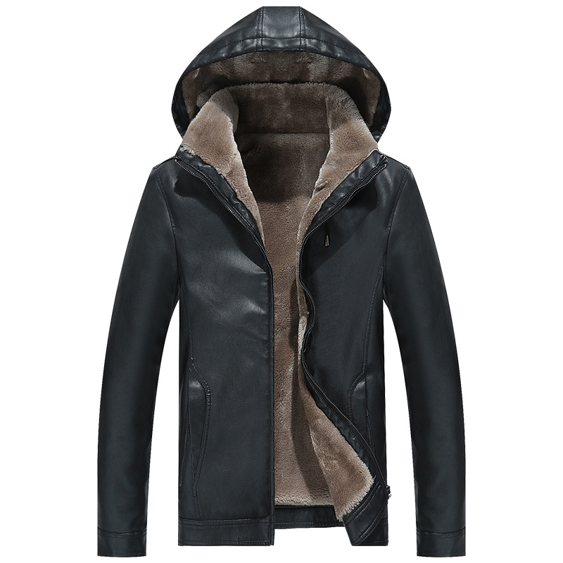 2019 Fashion Men Fur Leather Jacket Winter New Casual Warm Black Brown Plus Size Lapel Male Long Bike Slim Sued Jacket Coat