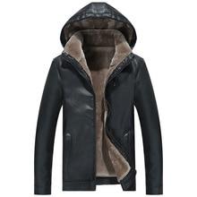 2019 Fashion Men Fur Leather Jacket Winter New Casual Warm Black Brown Plus Size Lapel Male Long Bike Slim Sued Jacket Coat