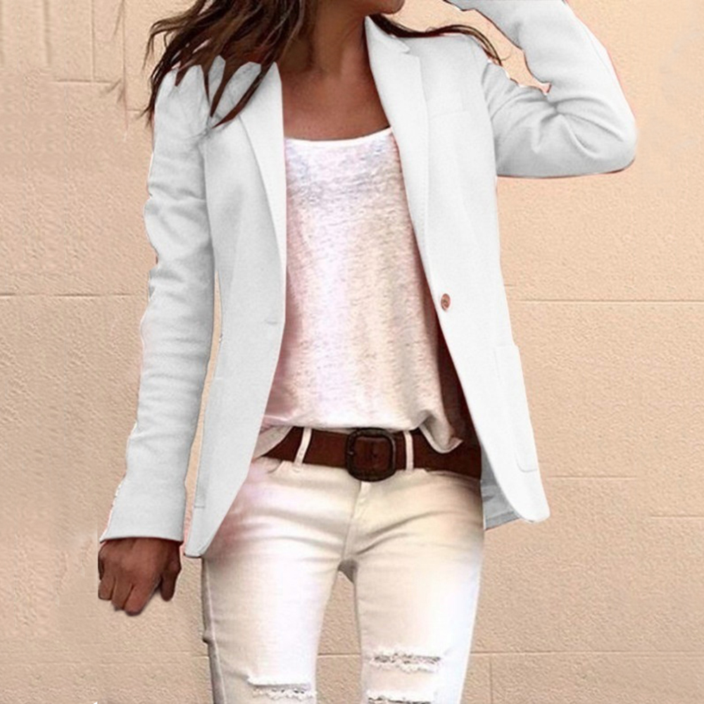 2020 Casual Slim Blazer Feminino Women Solid One Button Coats Top Suit Office Lady Blazer Jacket Femme Open Stitch Streetwears