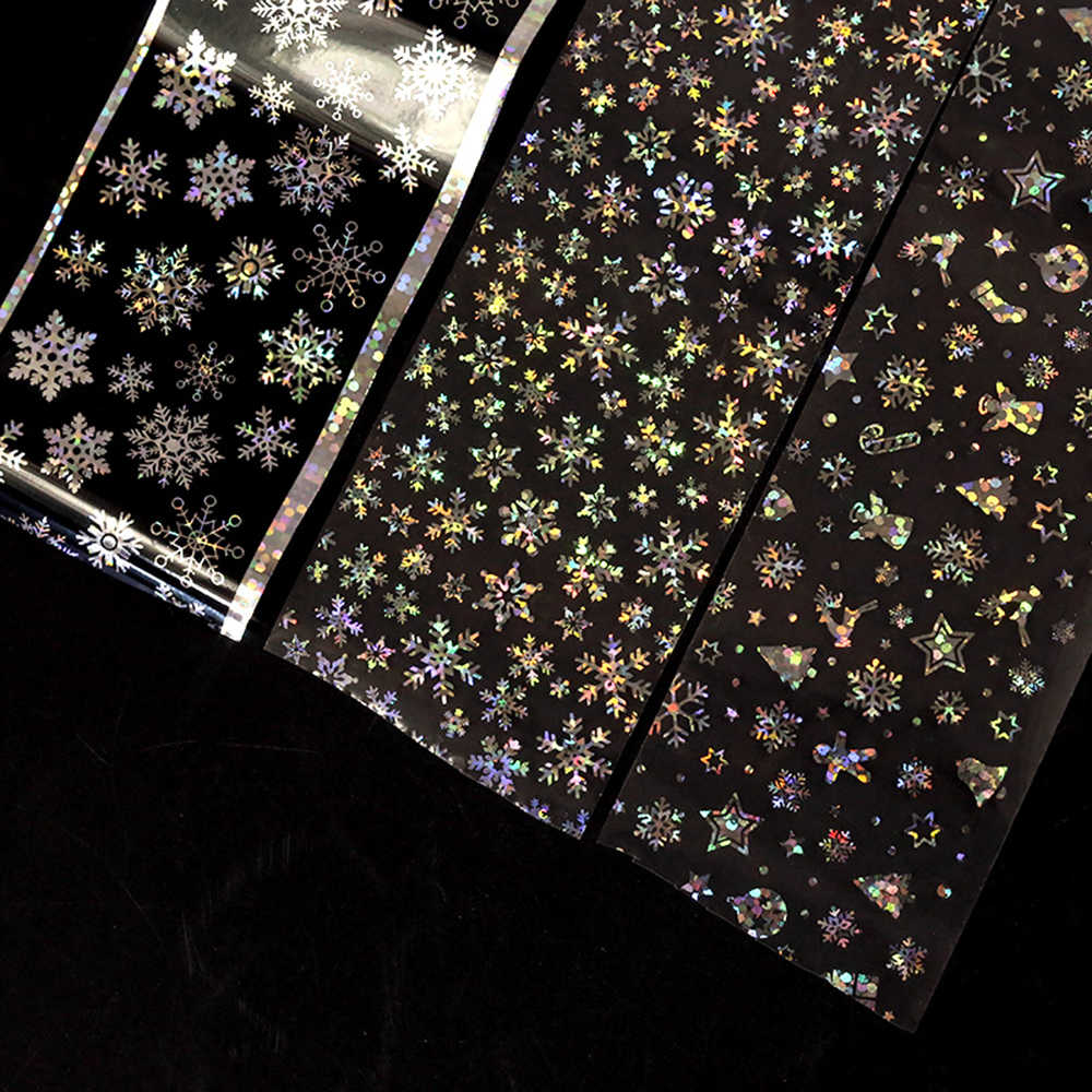 4*100cm motyw świąteczny laser holograficzny naklejki foliowe na paznokcie 3D DIY płatki śniegu Manicure Nail Art Transfer gwiaździste naklejki ozdoby do paznokci