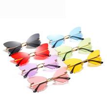 2020 nowych moda bezramowe motyl okulary przeciwsłoneczne z cyrkoniami damskie steampunk modne designerskie okulary przeciwsłoneczne okulary w stylu retro tanie tanio Arvin CN (pochodzenie) WOMEN ROUND Dla dorosłych Z tworzywa sztucznego Gradient UV400 48mm Żywica GDGS1329 55mm Plastic