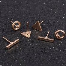2020 di modo accessori dei monili D'avanguardia 3 pz/set Donne Semplice Della Lega Cubic rotonda Triangl Geometrica A Forma di Orecchini Con Perno Oro