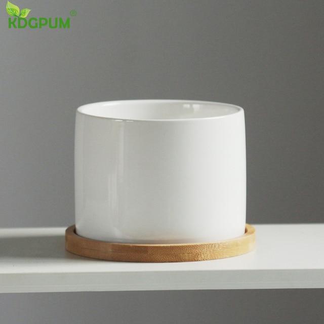 White Ceramic Flower Pot Succulent Flowerpot With Bamboo Bottom Tray Bracket Crafts Vase Office Garden Home Decoration Ornament 3