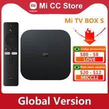 Versão global xiaomi mi caixa de tv s 4k ultra hd android tv 9.0 hdr 2gb 8gb wifi google elenco netflix inteligente mi caixa s media player