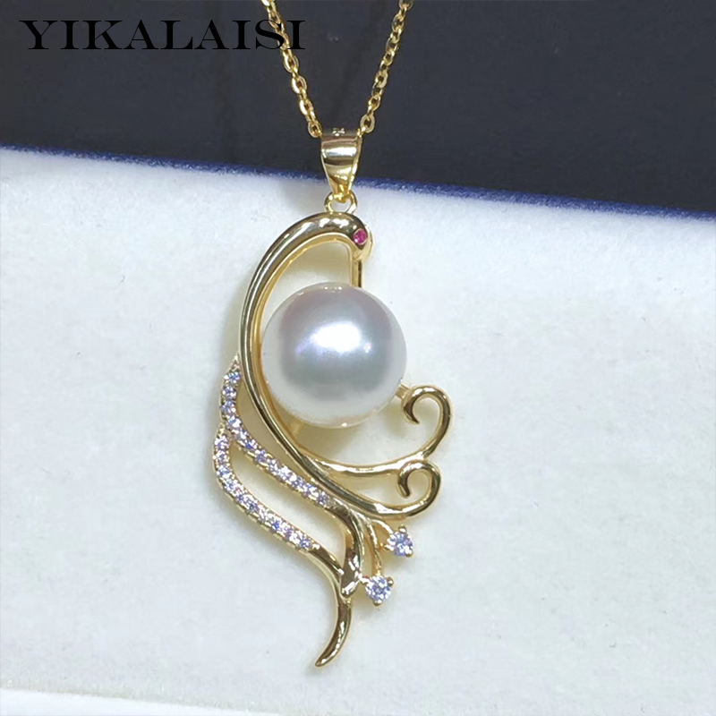 YIKALAISI 925 Sterling Silver Jewelry Pearl Pendants Peacock Natural Oblate Pearl Jewelry 11-12mm Pendants For Women Wholesale