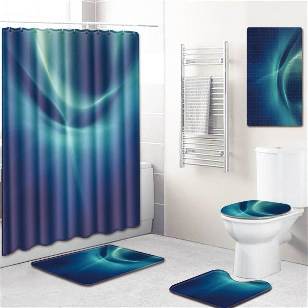 5 шт./компл. 3D печать полиэстер занавеска для душа Ванная комната Водонепроницаемый толстый Противоскользящий коврик для ванной ковер стойк... - 5