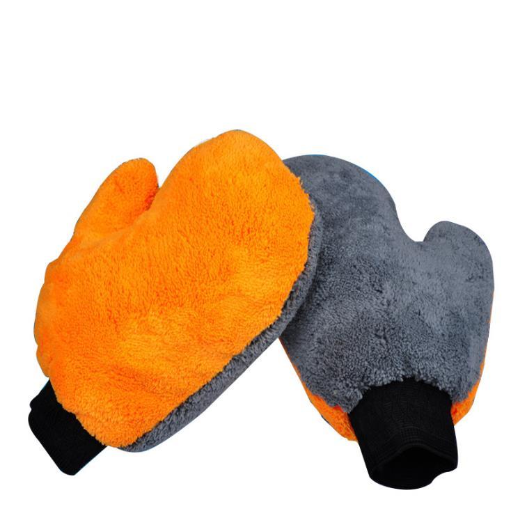 1Pc Double-sided Coral Cashmere Car Wash Glove Cleaning Mitt Short Wool Mitt Car Washing Brush Cloth Detergency Car Wash Glove