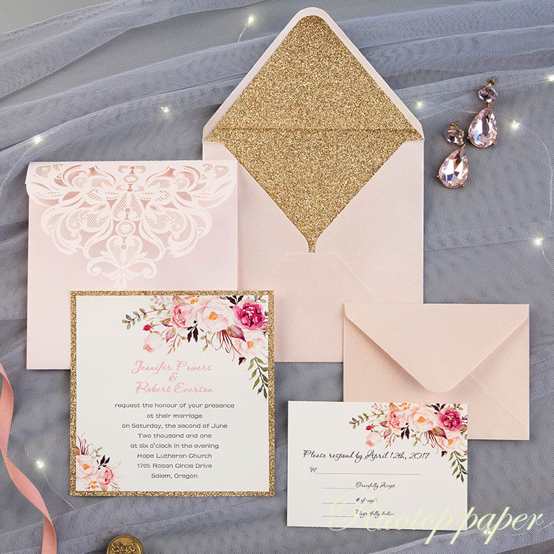 Us 3 53 7 Off 1pcs Blush Light Pink Tri Fold Square Customized Paper Wholesale Laser Cutting Wedding Invitation Cards With Rsvp Gift Card In Cards