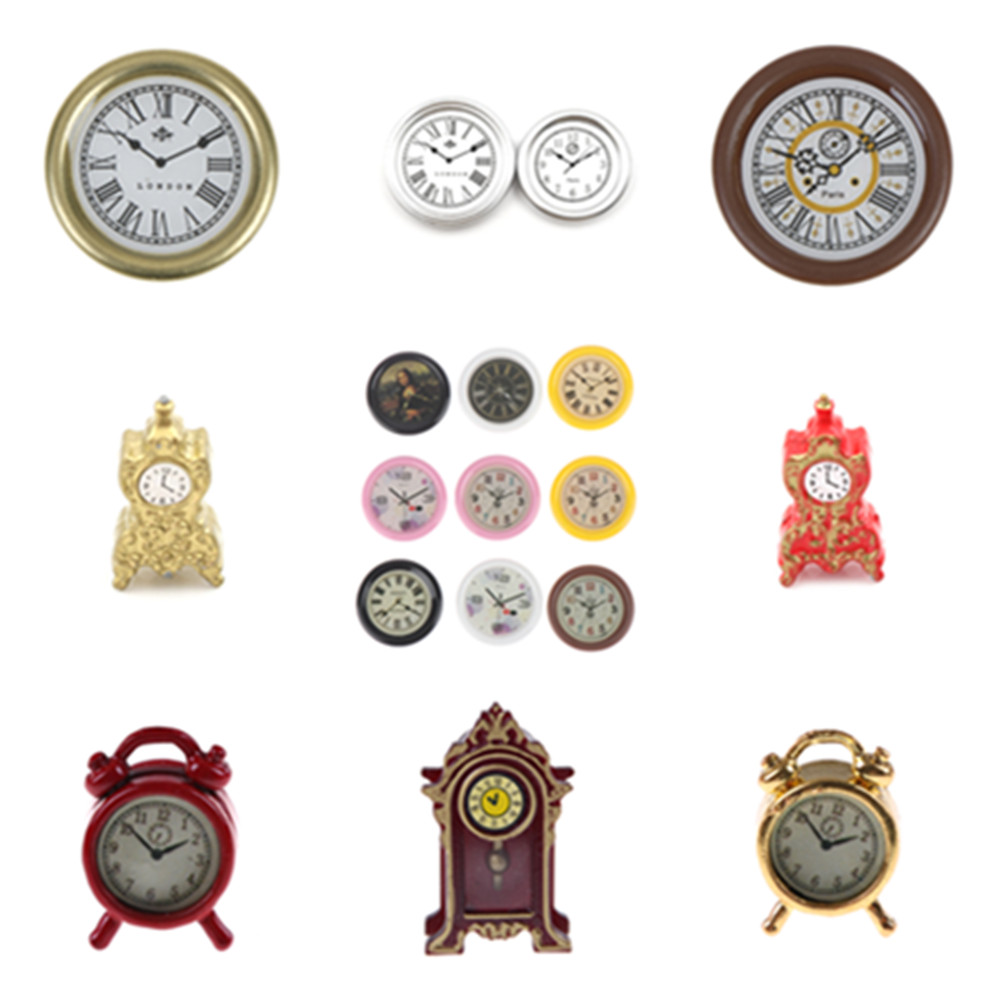 1:12 Scale Alarm Clock Mini Home Decoration Dollhouse Miniature Toy Doll Kitchen Living Room Furniture Accessories