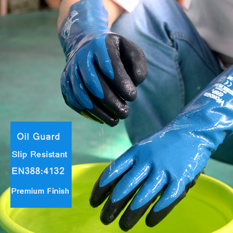 Oil Gas Industry Safety Glove Nitrile Slip Resistant Labor Glove Water And Chemical Proof Work Gloves