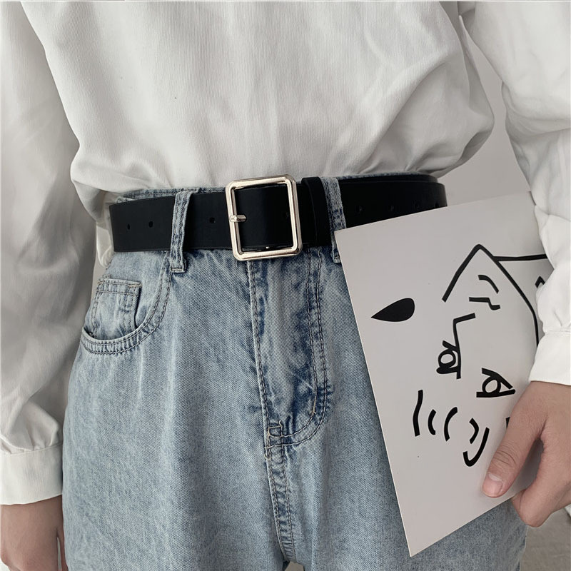 2021 PU Leather Belt For Women Square Buckle Pin Buckle Jeans Black Belt Chic Luxury Brand Ladies Vintage Strap Female Waistband