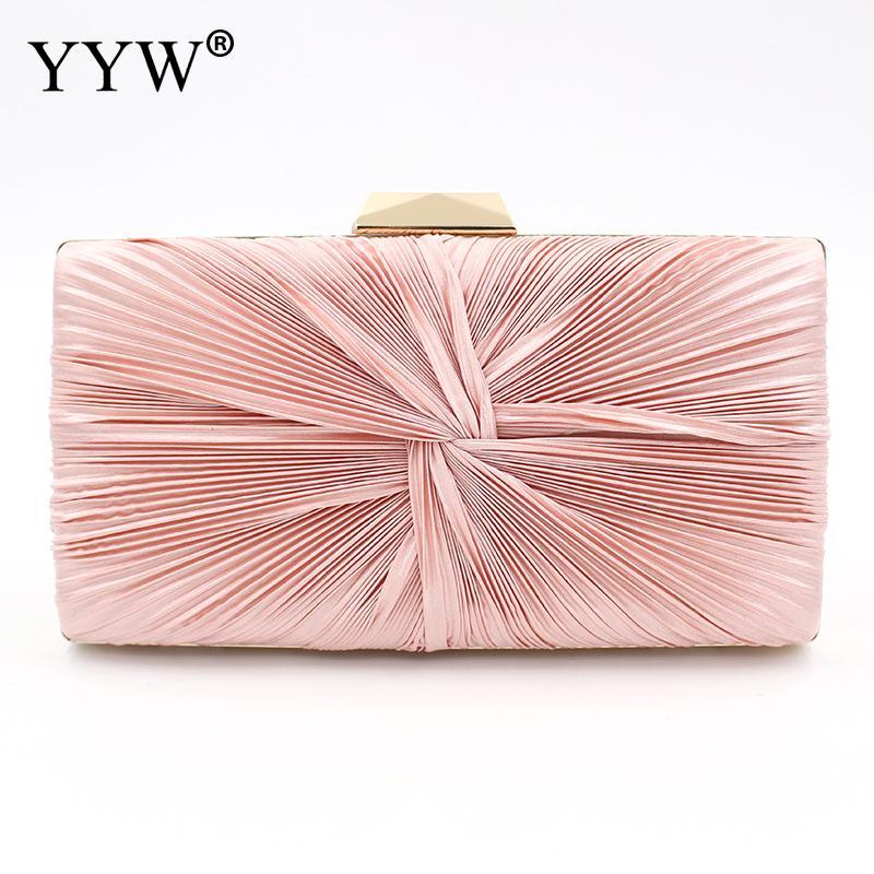 Women Evening Clutch Bag Female Ruched Shoulder Bags Hard Surface Clutches Elegant Banquet Wedding Purse Rectangle Pink