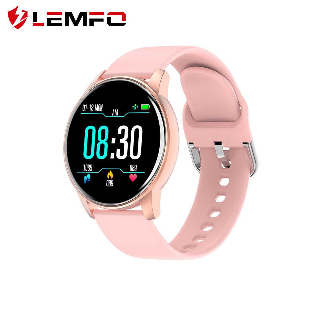 LEMFO ساعة ذكية النساء الرياضة المقتفي معدل ضربات القلب مراقبة ضغط الدم مقاوم للماء طويل الاستعداد ساعة ذكية للرجال أندرويد IOS