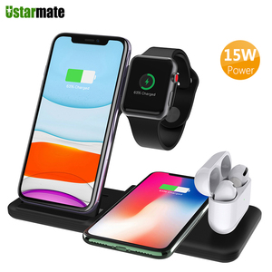 Image 1 - 4in1 Qi Wireless Charge Station Foldable Base 15W Fast Wireless Charging for Samsung S20 S10 Huawei Apple iWatch 5 4 3 Airpods 2